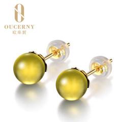 歐采妮 18K金藍珀耳釘「純美」天然琥珀墨西哥藍珀耳飾耳環女款