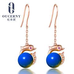 歐采妮 天然墨西哥琥珀圓珠藍珀耳墜耳釘耳飾18K金凈水藍女款