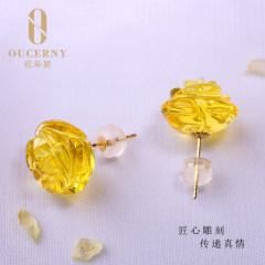 歐采妮 蜜蠟耳墜 18K金鑲嵌天然波羅的海玫瑰花金珀耳釘耳飾女款