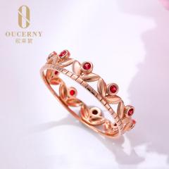 天然紅寶石戒指女鴿血紅18k金鉆石珠寶定制款彩寶無燒紅寶石排戒