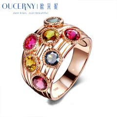 歐采妮珠寶 彩色碧璽戒指女款18k玫瑰金女戒指鑲鉆彩寶裸石排戒