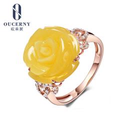歐采妮 蜜蠟戒指 18K金鑲嵌波羅的海琥珀蜜蠟 花朵形狀戒指