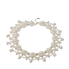 京潤珍珠花盛 #婚慶 淡水珍珠項鏈 一款兩戴 女 時尚珠寶 白色 約2.5mm~9-10mm 42c