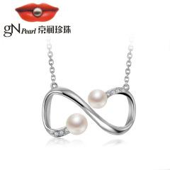 京潤珍珠項鏈無限 925銀鑲淡水珍珠鏈牌吊墜韓版簡約項鏈女鎖骨鏈 白色 約4-5mm/5-6mm 4