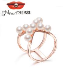 京润珍珠X S925银镶淡水珍珠戒指 4-5mm X型 时尚戒指 女 白色 约4-5mm