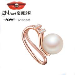 京润话题时代耳夹 淡水珍珠单珠耳垂夹 单只 白色 单只 7-8mm (玫瑰金色)
