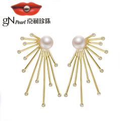 京潤輕鴻 S925銀鑲淡水珍珠耳釘耳環 7-8mm饅頭形 白色 送女友 白色 約7-8mm