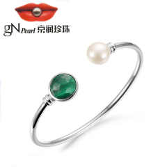 京润绿茵 S925银镶淡水珍珠手镯 10-11mm白色 馒头形 珠宝送女友 白色 约10-11mm