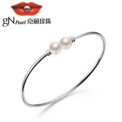 京潤珍珠圓和 S925銀鑲淡水珍珠手鐲 8-9mm 圓形 白色 珠寶女 銀色 約8-9mm