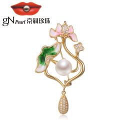 京润珍珠雨露白荷 铜合金镶淡水珍珠胸针 10-11mm白色馒头形 白色 约10-11mm