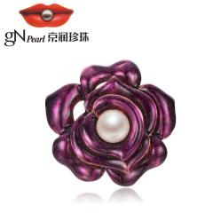 京潤爭春 合金鑲淡水珍珠胸針 11-12mm 白色 饅頭形 花朵珠寶禮 白色 約11-12mm
