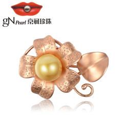 京潤珍珠飾夢 8.5-9mm正圓 G18K金鑲金黃色南洋海水珍珠胸針 金黃色 約8.5-9mm