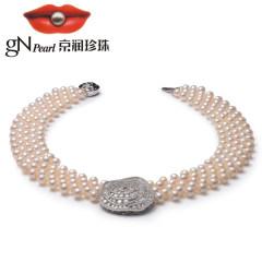 京潤 華綺 淡水珍珠多層項鏈鎖骨鏈6-7mm白色圓形花式氣質珠寶1 白色 約6mm~7mm 43cm