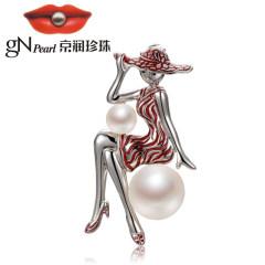 京润珍珠 珍珠姑娘 馒头形强光泽 S925银镶白色淡水珍珠胸针1 白色 约5-11mm