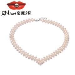 京潤珍珠項鏈蘭吟 淡水珍珠項鏈5-6mm圓形多層小珠項鏈華麗經典款 預售 付款后30天內發貨 約5-
