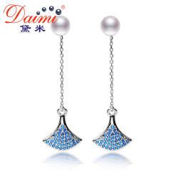 黛米珠寶 夢瑩 強光白色淡水珍珠耳釘 女 925銀長款耳環耳墜 正品 白色 約5-6mm