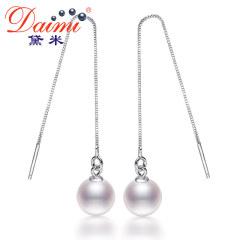 黛米簡傲 白色正圓形淡水珍珠耳環 耳墜長款 流蘇耳線925銀正品 白色珠/款式多戴 約5-6mm