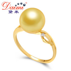 黛米珠宝 丽鸢 10-11mm正圆高亮泽南洋金珍珠戒指正品18k金钻石 金色 约10-11mm
