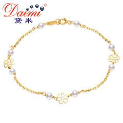 黛米珠宝 娴婉 3-3.5mm迷你圆珠强光淡水珍珠手链18K金正品女 白色 精致小巧约3-3.5mm