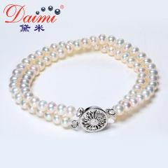 黛米珠宝 楠玉 4-5mm近圆白色强光淡水珍珠手链 双层设计款正品女 白色 约4-5mm 含扣约17