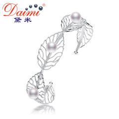 黛米珠宝 叶舞 6-7mm正圆强光白色淡水珍珠手镯手链925银正品女 白色 约6-7mm