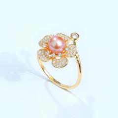 黛米珍珠 丹卉 6-7mm粉紫色正圆强光淡水珍珠戒指 S925银可调节款 粉紫色 约6-7mm
