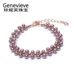 珍妮芙珠宝 青春款baby小珍珠手链 编织款双层叠戴手链 紫色系 约3-4mm 佩戴长度可调