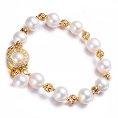 Genevieve/珍妮芙生日礼物手链女 礼物可调节淡水珍珠手链 白色 约7-8mm 正圆强光淡水珍