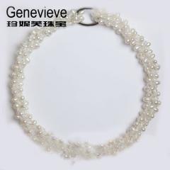 珍妮芙 多層 閃亮婚慶宴會 麥穗天韻昂然珍珠項鏈 婚慶珠寶 真品珍珠白色 米形/水滴形 多層