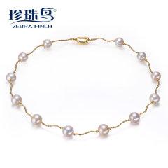 珍珠鸟珠宝 超大11-12mm天淡水珍珠项链正圆强光G14K包金然正品 白色【包G14K黄金】 约1
