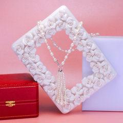 珍珠鳥珠寶 珍珠吊墜珍珠項鏈長鏈珍珠毛衣鏈送女友禮物正品 優雅白色款 約7-8mm 約80cm