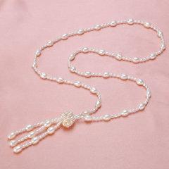 珍珠鳥珠寶 天珍珠長款毛衣鏈項鏈3色可選擇然 白色 約7-8mm 約70cm+7cm尾鏈
