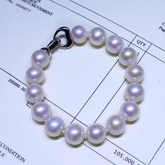 珍珠鸟珠宝 灵秀 高品质淡水珍珠手链四色可选正品送女友 优雅白色 约9-10mm s925银链扣