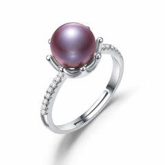 Chrvseis8-8.5mm紫色珍珠戒指正圓s925銀開口戒女生日禮物 氣質 【纖】紫色系(開口戒
