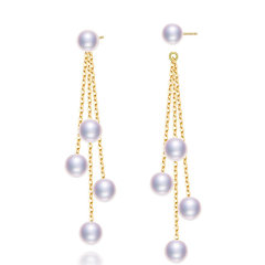 Chrvseis珍珠G18k金長款珍珠耳線珍珠耳環正圓女流蘇款送老婆禮物 帶18k針+珍珠+耳線 約