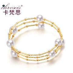 Chrvseis珍珠8-11mm正圆形多层珍珠手链女 18K镀金 生日礼物 均码(18k镀金) 约8