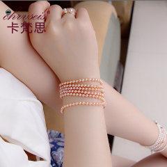 Chrvseis珍珠 4-4.5mm正圆形粉色多层小珍珠手链女 生日礼物 粉色系 约3.5-4mm