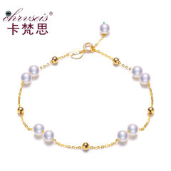 Chrvseis珍珠4.5mm小珍珠手链正圆G18K金女媲美海水珠 生日礼物 G18k链+淡水珠 约