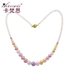 Chrvseis珠寶3-9mm圓形彩色珍珠項鏈混彩貓鏈女鎖骨鏈塔鏈 禮物 混彩色 約3-9mm 約4
