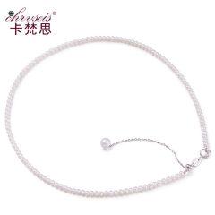 Chrvseis珍珠3-4mm迷你小细珍珠项链圆形女锁骨链淡水生日礼物 白色系 约3-3.5mm 约