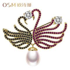歐詩漫珠寶 雙鵝 淡水珍珠胸針別針小天鵝水滴形珍珠胸花百搭配飾 金色 約9-9.5mm