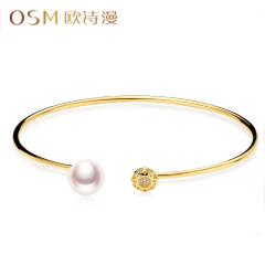 欧诗漫珠宝 G18K金淡水珍珠金色手镯手环8-9mm强光泽送妈妈 心动 18k金 约8-9mm