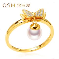 歐詩漫珠寶 5-6mm白色淡水珍珠戒指18k金女士蝴蝶結簡約指環 蝶姝 12# 約5-6mm