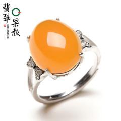 果敢黄龙玉 HL23R黄龙玉戒指镶银玉器玉石指环