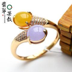 分期购W345果敢翡翠 17.8双彩翡翠戒指玉戒指18K金镶嵌蛋面戒指