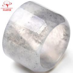 豪8印象W068翡翠扳指 冰種指環緬甸天然玉扳指原石a貨翡翠玉指環