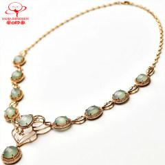 豪8印象K3338翡翠镶嵌项链 天然冰种翡翠项链 缅甸原石玉项链女款