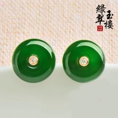 绿翠玉楼碧玉耳钉女平安圈耳饰和田玉菠菜绿18K玫瑰金镶Z5508 镶18K玫瑰金