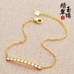 綠翠玉樓翡翠手鏈女首飾天然白冰面18K黃金鑲手飾可調節Z5602