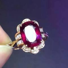 【红碧玺戒指️】18K金真钻镶嵌,钻石➕T钻,颜色红艳晶体干净,实物更赞特价